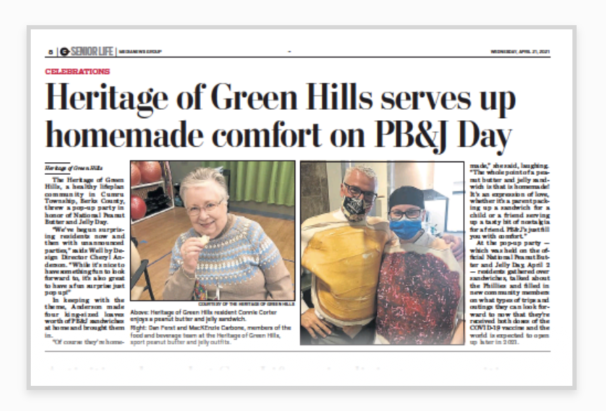 Heritage of Green Hills serves up homemade comfort on PB038J Day